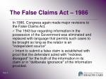 the false claims act 1986