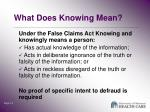 what does knowing mean