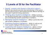 5 levels of si for the facilitator
