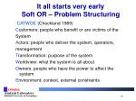 it all starts very early soft or problem structuring