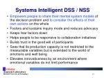 systems intelligent dss nss