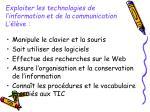 exploiter les technologies de l information et de la communication l l ve