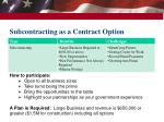 subcontracting as a contract option