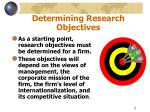 determining research objectives