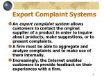 export complaint systems