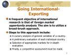 going international exporting