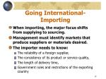 going international importing