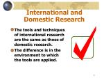 international and domestic research