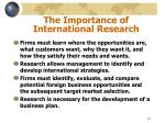 the importance of international research