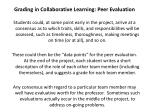 grading in collaborative learning peer evaluation