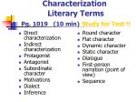 characterization literary terms pg 1019 10 min study for test