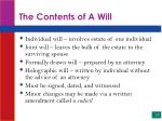 the contents of a will