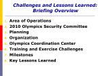challenges and lessons learned briefing overview