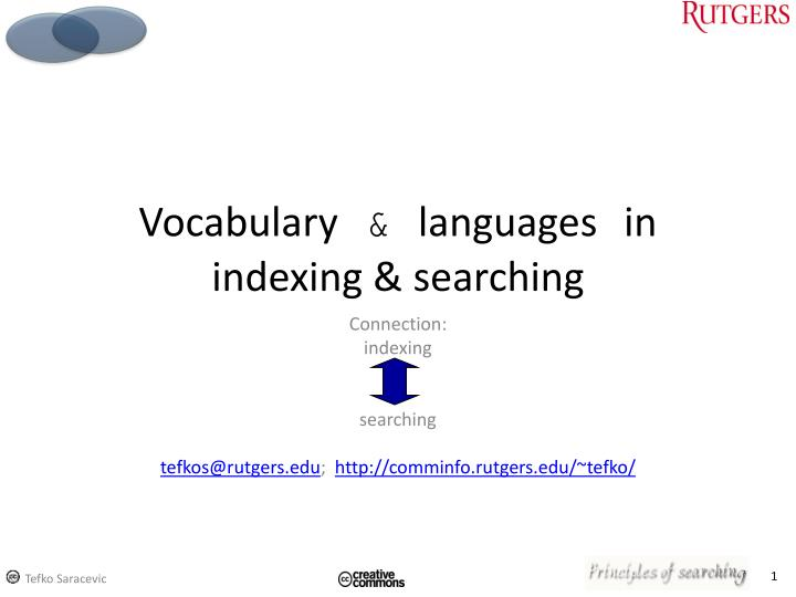 vocabulary languages in indexing searching n.
