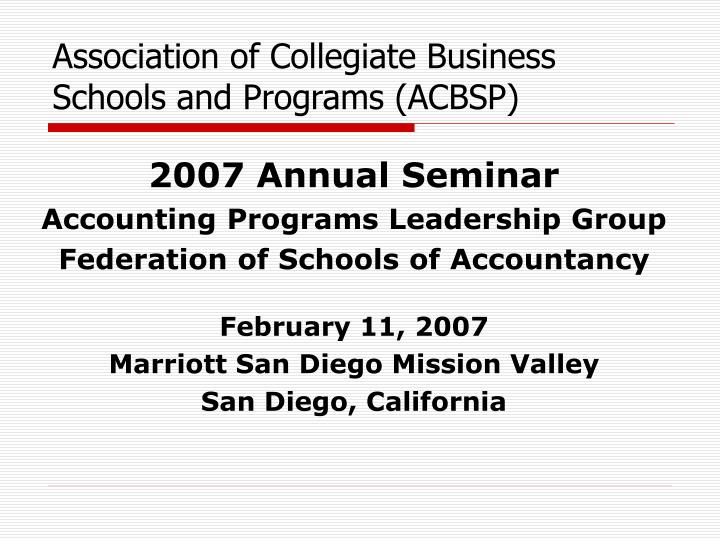 association of collegiate business schools and programs acbsp n.
