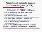 resources on acbsp gateway