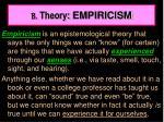 b theory empiricism