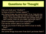 questions for thought