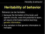 heritability of behavior