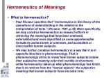 hermeneutics of meanings