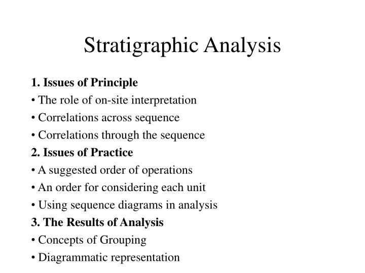 stratigraphic analysis n.