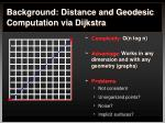 background distance and geodesic computation via dijkstra3