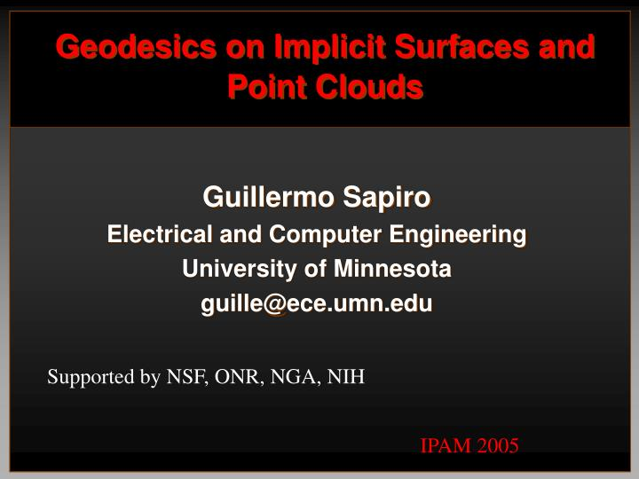 geodesics on implicit surfaces and point clouds n.