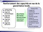 renforcement des capacit s en vue de la gouvernance locale