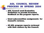 aol council review process in spring 2004