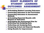 eight elements of student learning outcomes assessment