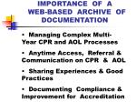 importance of a web based archive of documentation