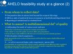 ahelo feasibility study at a glance 2