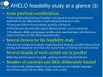 ahelo feasibility study at a glance 3