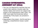 canadian environmental assessment act ceaa
