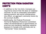 protection from radiation cont d