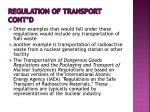 regulation of transport cont d
