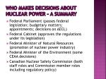 who makes decisions about nuclear power a summary