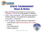 state tournament news notes