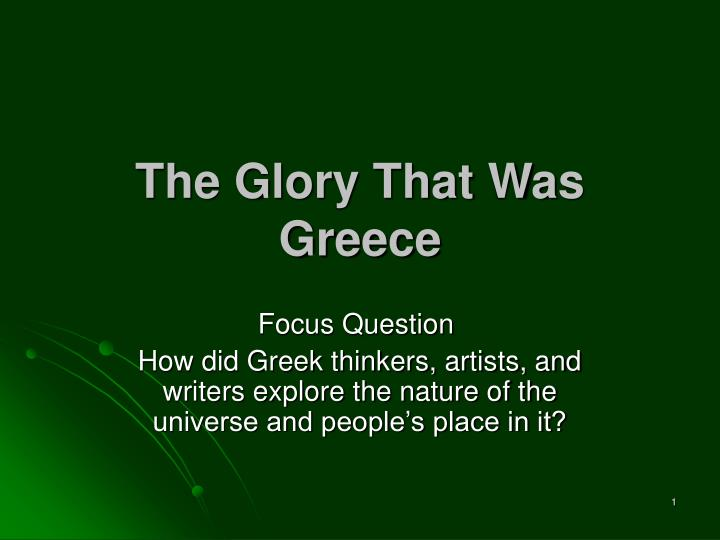 the glory that was greece n.