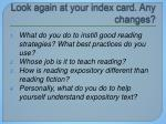 look again at your index card any changes