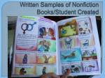 written samples of nonfiction books student created