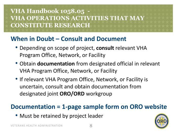 VHA Handbook 1058.05  -