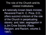 the role of the church and its related institutions1