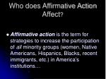 who does affirmative action affect
