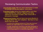 reviewing communication tactics