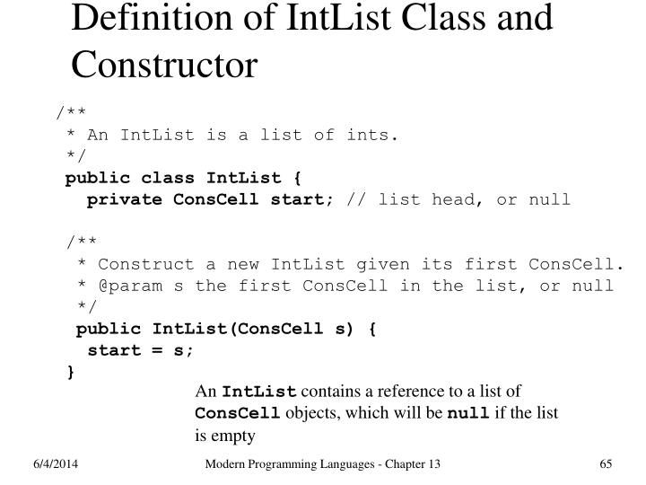 Definition of IntList Class and Constructor