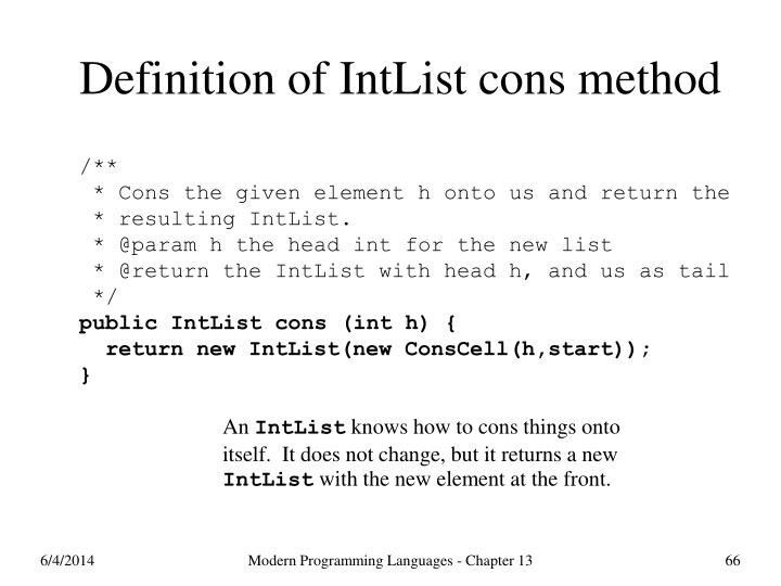 Definition of IntList cons method