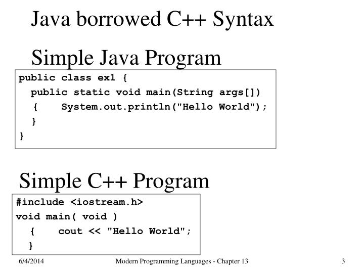 Java borrowed c syntax simple java program