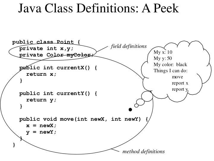 Java Class Definitions: A Peek