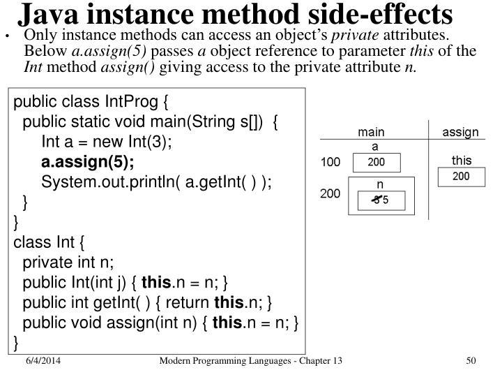 Java instance method side-effects